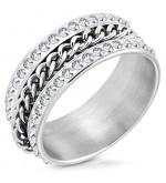 Ezüst színű lánc mintás nemesacél gyűrű ékeszer-10