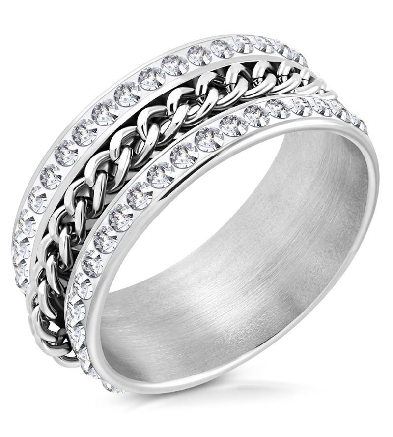 Ezüst színű lánc mintás nemesacél gyűrű ékeszer-9