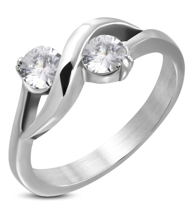 Ezüst színű  nemesacél gyűrű cirkóna kristállyal-7