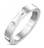 Ezüst színű nemesacél gyűrű, cirkónia kristállyal-5