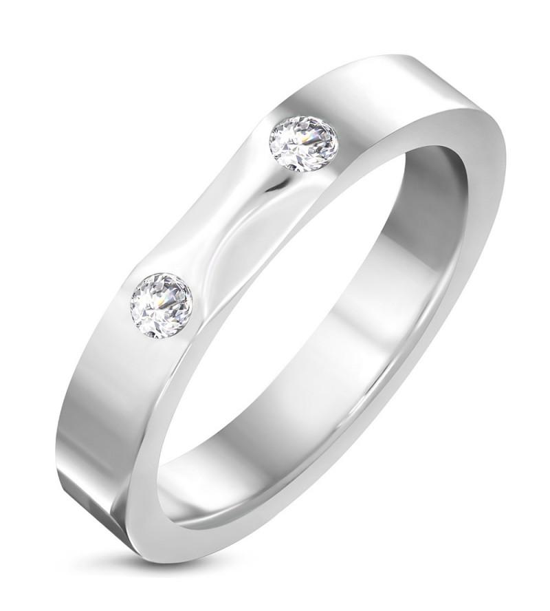 Ezüst színű nemesacél gyűrű, cirkónia kristállyal-7
