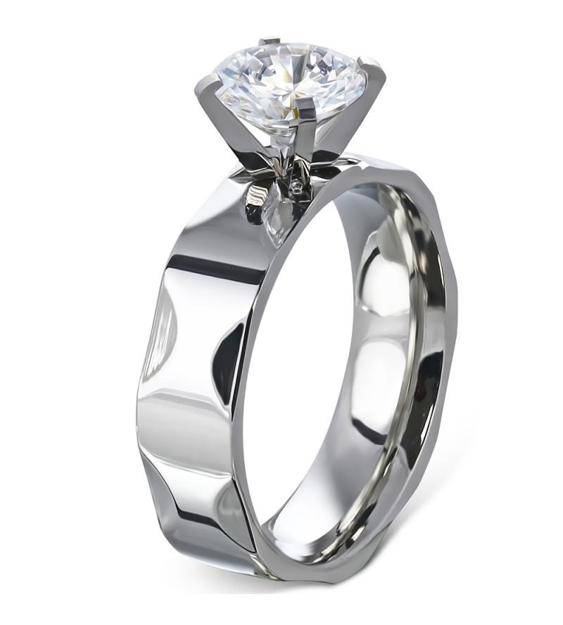 Ezüst színű nemesacél gyűrű, cirkónia kristállyal-9