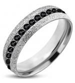 Ezüst színű nemesacél gyűrű ékszer, cirkónia kristállyal-6