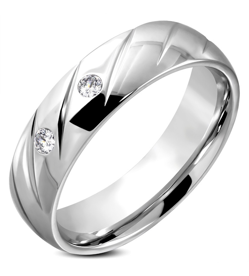 Ezüst színű nemesacél gyűrű ékszer, cirkónia kristállyal -6