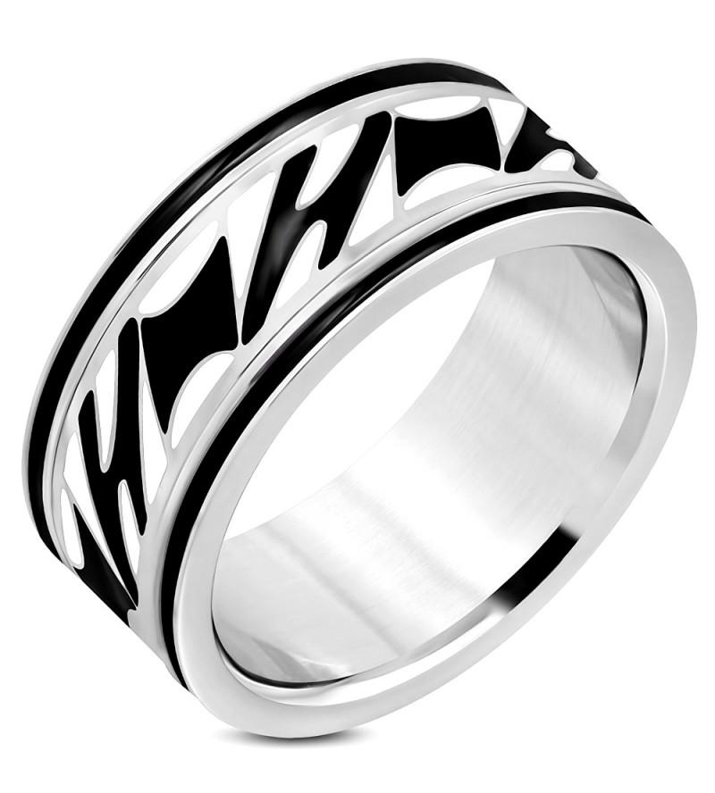 Ezüst színű nemesacél gyűrű ékszer, középen fekete és fehér mintás forgó résszel