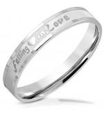 Ezüst színű nemesacél gyűrű falling in love felirattal-5