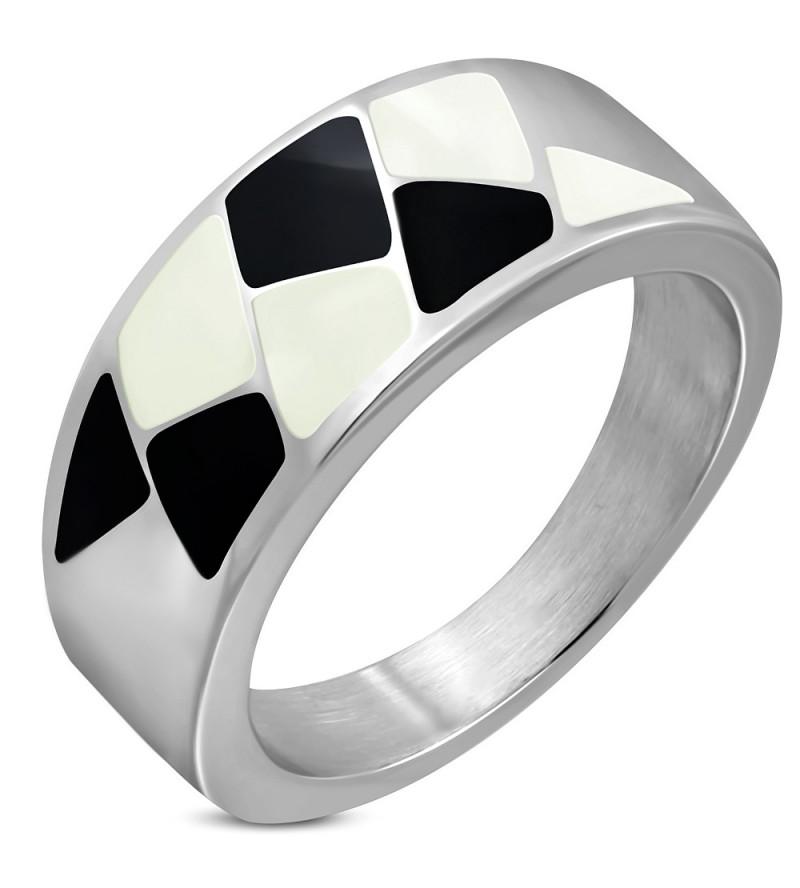 Ezüst színű nemesacél gyűrű, fekete és fehér mintával-10