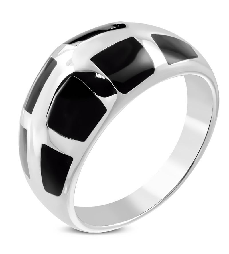 Ezüst színű nemesacél gyűrű, fekete mintával-9,5
