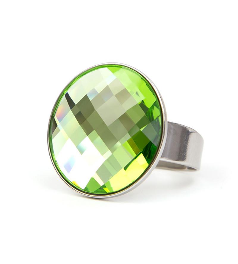 Moon Swarovski® kristályos nemesacél gyűrű - Peridot