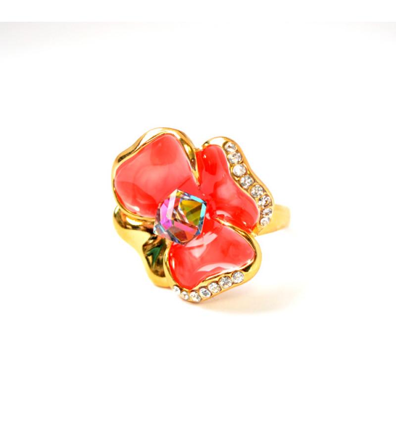 Pink árvácska Swarovski kristályos gyűrű, arany színű-9