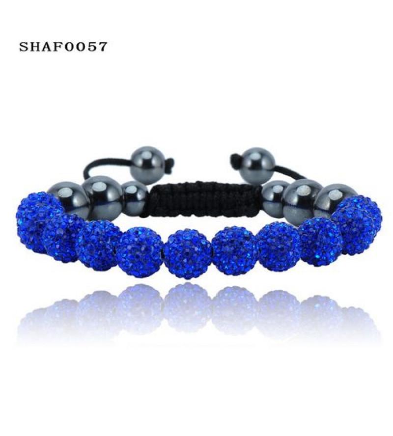 11 kristály gömbös shamballa karkötő - sötét kék