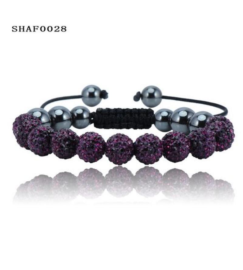 11 kristály gömbös shamballa karkötő - sötét lila