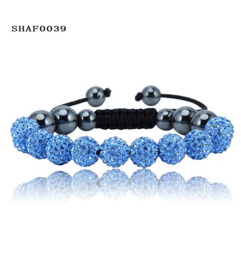 11 kristály gömbös shamballa karkötő - világos kék