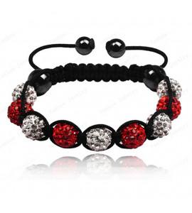 9 kristály gömbös shamballa karkötő - piros-fehér