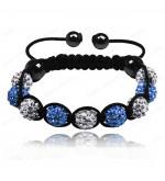 9 kristály gömbös shamballa karkötő - Világos kék-fehér