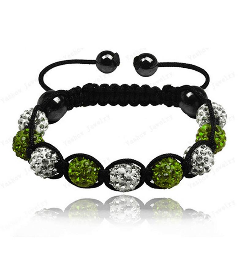 9 kristály gömbös shamballa karkötő - Zöld-fehér