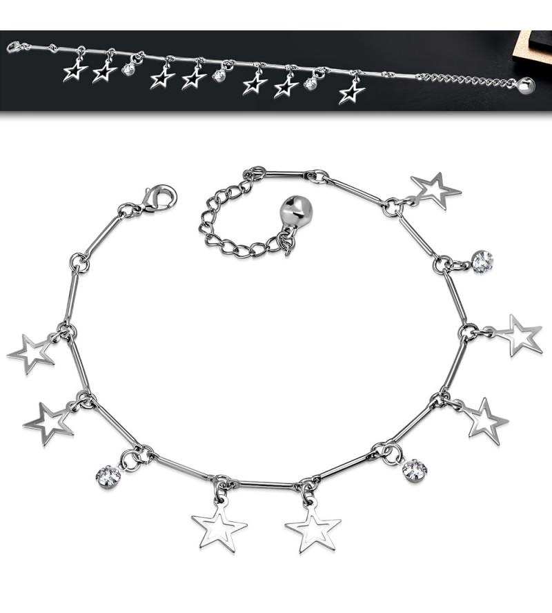 Ezüst színű bokalánc csillag alakú dísszel, cirkónia kristállyal