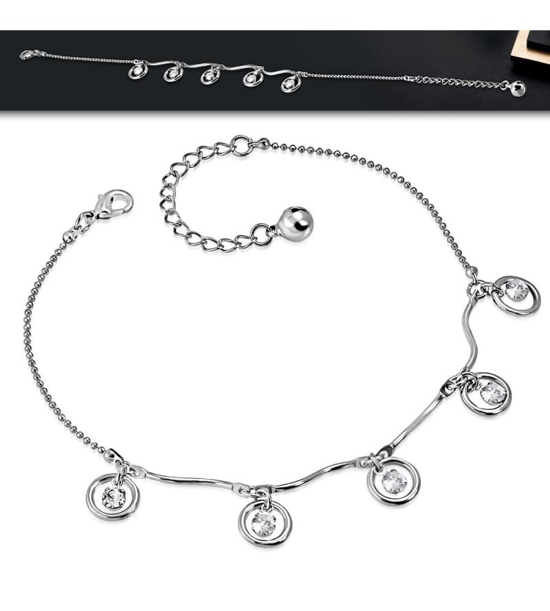 Ezüst színű bokalánc kör alakú dísszel, cirkónia kristállyal