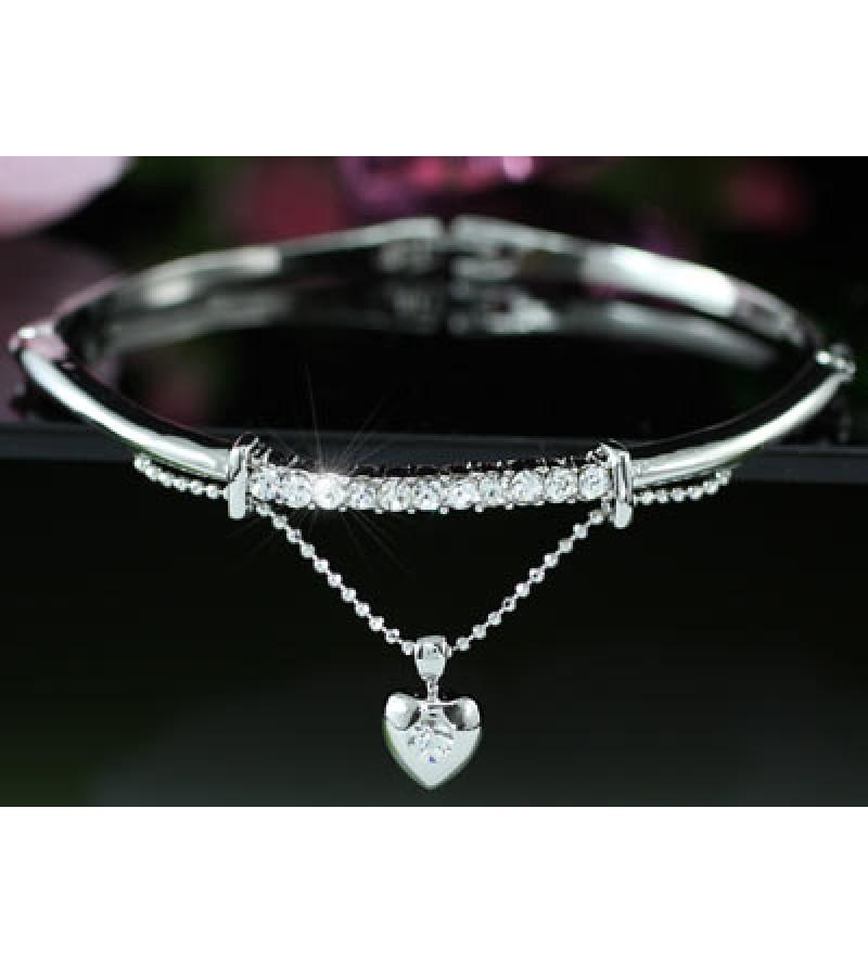 Swarovski kristályos karkötő - lelógó szívvel