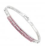 Swarovski kristályos karkötő -dupla soros rózsaszín kristályokkal
