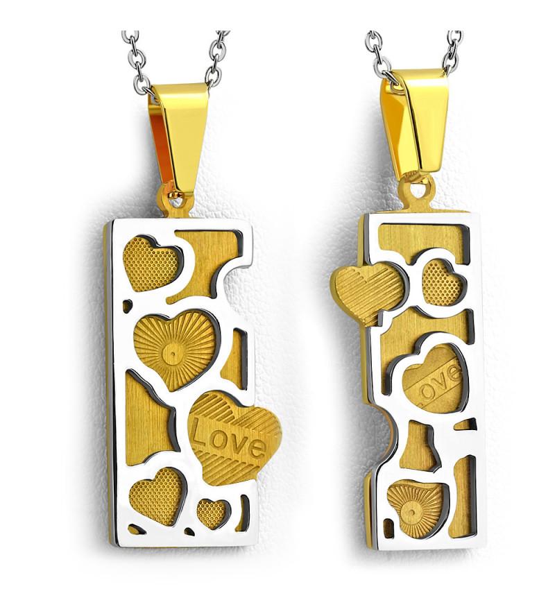 Arany és ezüst színű nemesacél, kétrészes szív mintájú medál