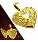 Arany színű, kinyitható szív alakú nemesacél medál
