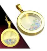 Arany színű, kör alakú nemesacél medál, színes kristályokkal
