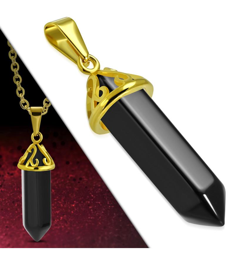Arany színű nemesacél medál fekete kvarc kristállyal