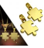 Arany színű puzzle alakú nemesacél páros medál