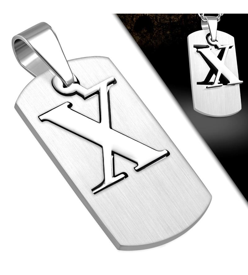 Army - X betűs ezüst színű nemesacél medál