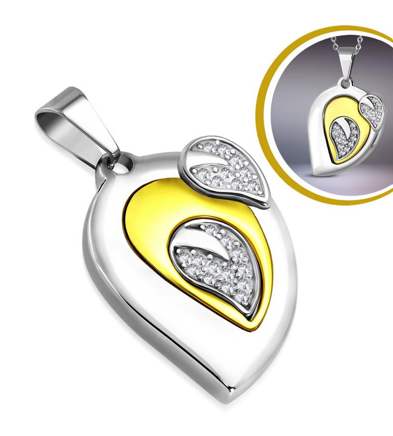 Ezüst és arany színű, könnycsepp alakú nemesacél medál, cirkónia kristállyal