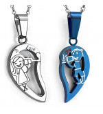 Ezüst és kék színű, kétrészes szív alakú nemesacél medál, cirkónia kristállyal