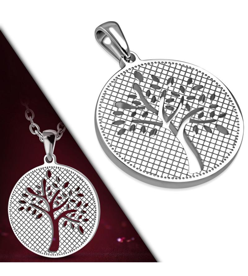 Ezüst színű élet fája motívumos nemesacél medál