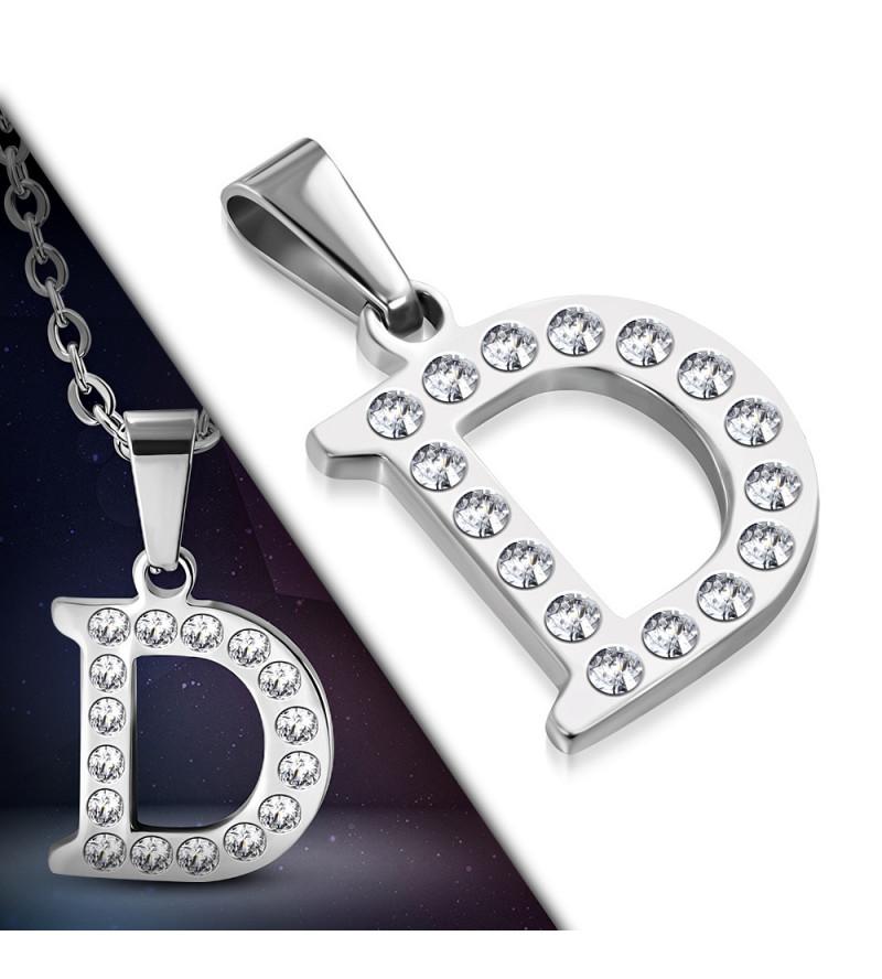 Ezüst színű nemesacél betű medál cirkónia kristályokkal D