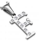 Ezüst színű nemesacél betű medál cirkónia kristályokkal F