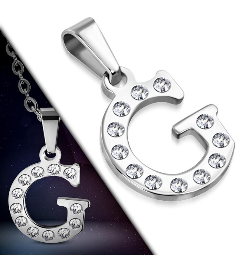 Ezüst színű nemesacél betű medál cirkónia kristályokkal G
