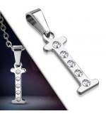 Ezüst színű nemesacél betű medál cirkónia kristályokkal I