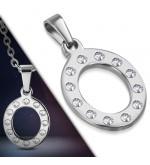 Ezüst színű nemesacél betű medál cirkónia kristályokkal O