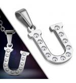 Ezüst színű nemesacél betű medál cirkónia kristályokkal U