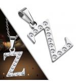 Ezüst színű nemesacél betű medál cirkónia kristályokkal Z