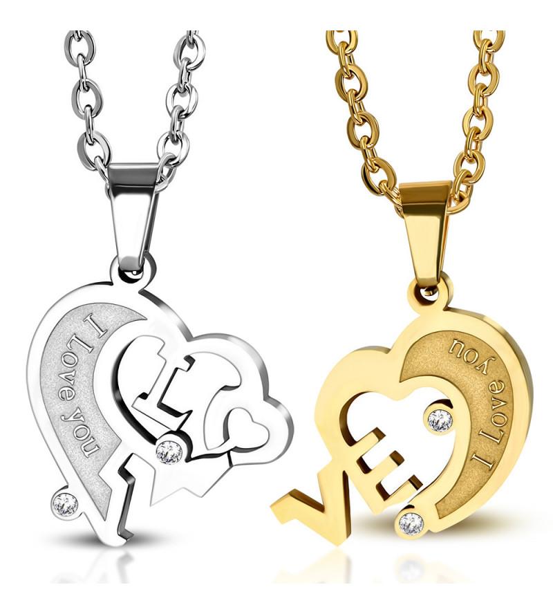 I love you Arany-ezüst színű szív alakú páros nemesacél medál cirkónia kővel