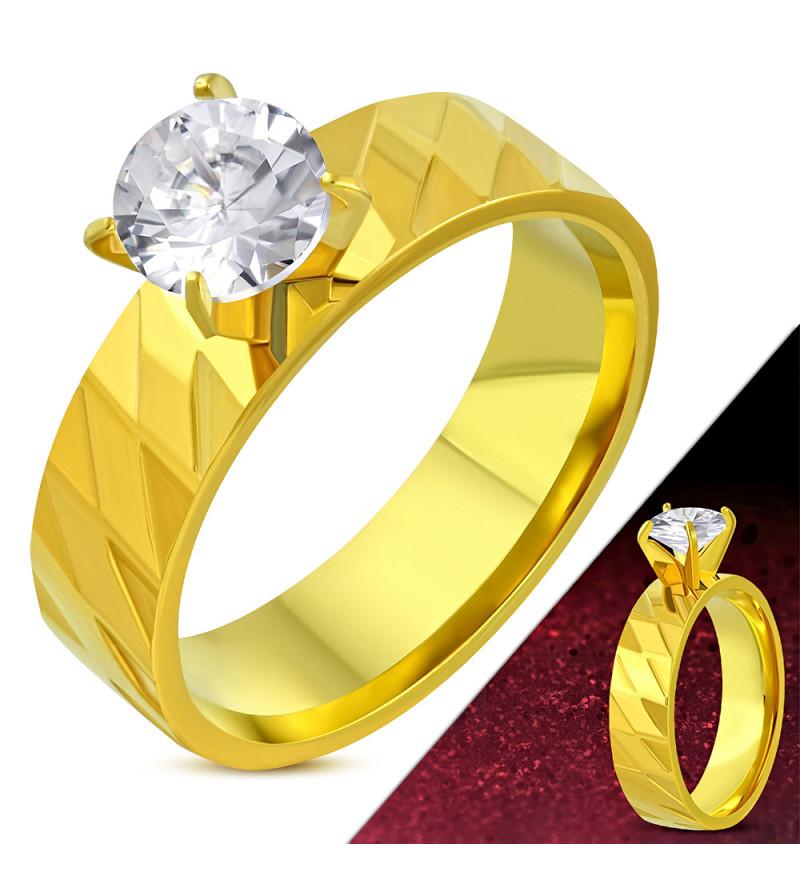 ÉTA - Arany színű mintás nemesacél gyűrű ékszer cirkónia kristállyal-8