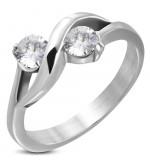 Ezüst színű  nemesacél gyűrű cirkóna kristállyal-5