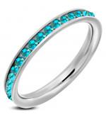 Ezüst színű nemesacél gyűrű ékszer türkizkék cirkónia kristályokkal-6