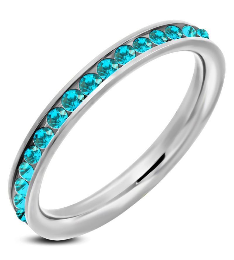 Ezüst színű nemesacél gyűrű ékszer türkizkék cirkónia kristályokkal-9