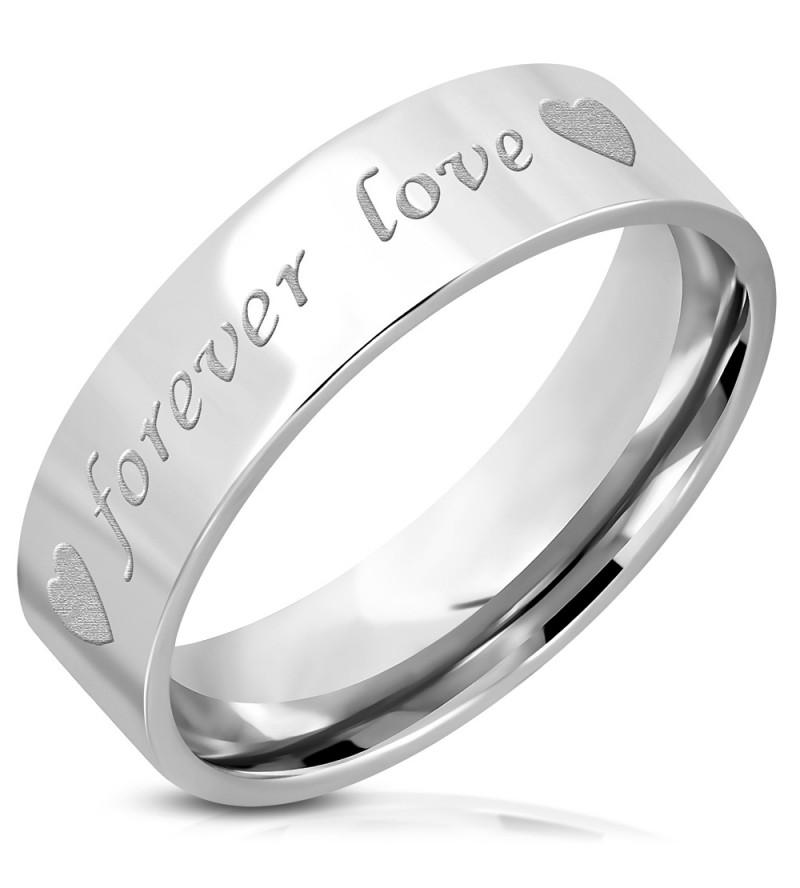 Ezüst színű nemesacél gyűrű FOREVER LOVE  felirattal