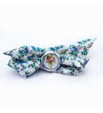 Divatos, nyárias karóra fehér-kék, virágos szövet szíjjal - nagyméretű számlappal