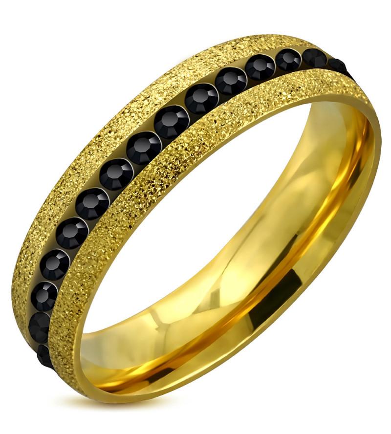 Arany színű nemesacél gyűrű ékszer, fekete színű cirkónia kristállyal