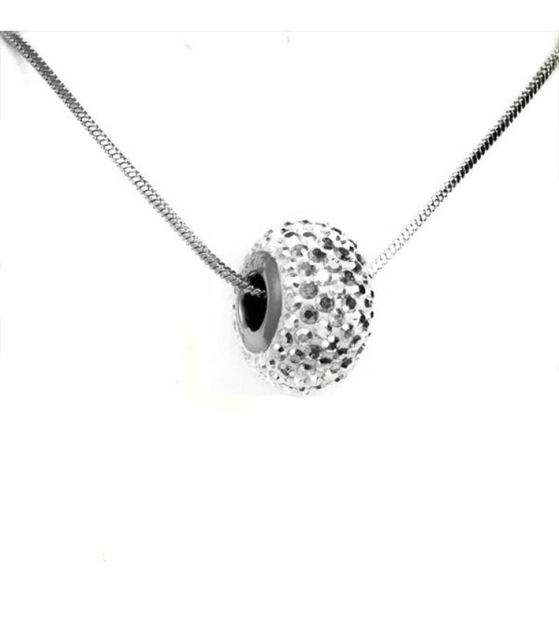 átlátszó Swarovski® kristályos nyaklánc - Pavé Beads 14 mm, Crystal + Díszdoboz