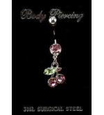 Cseresznye nemesacél piercing színes
